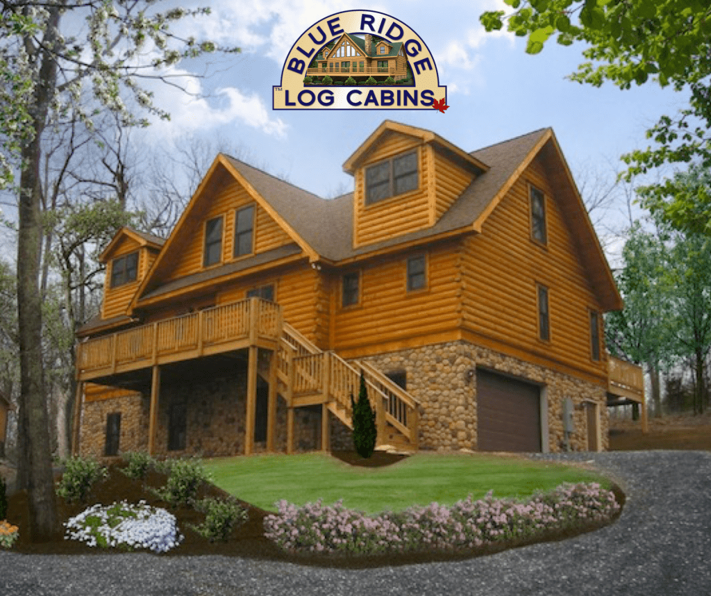 A completed Blue Ridge log cabin